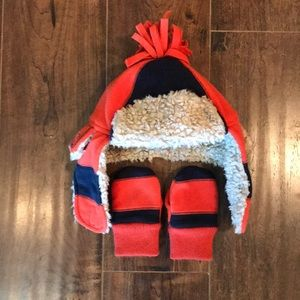 Babygap Sherpa lined trapper hat and mittens